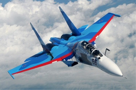 A Russian Sukhoi Su-30 fighter jet in flight. Wikimedia Commons