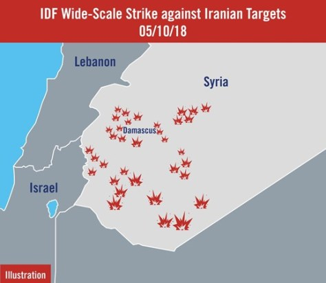 An illustration showing the targets hit by the IAF on May 10. (IDF)