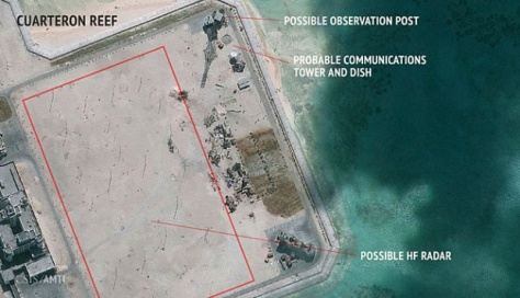 Foto satelit yang dirilis Asian Maritime Transparency Initiative, pada 23 Februari 2016, memperlihatkan Tiongkok kemungkinan sedang membangun instalasi radar di pulau-pulau di kepulauan