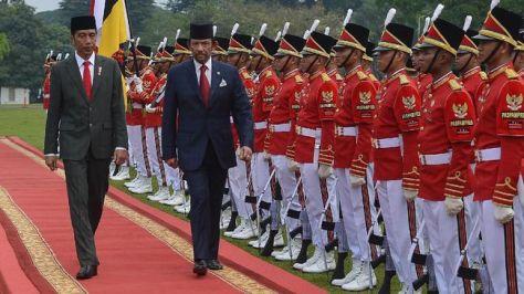 Sultan Brunei menyatakan ketertarikan membeli alutsista buatan Indonesia saat bertemu Presiden Joko Widodo di Istana Bogor. (ANTARA FOTO)