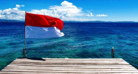 Indonesian flag flying on jetty