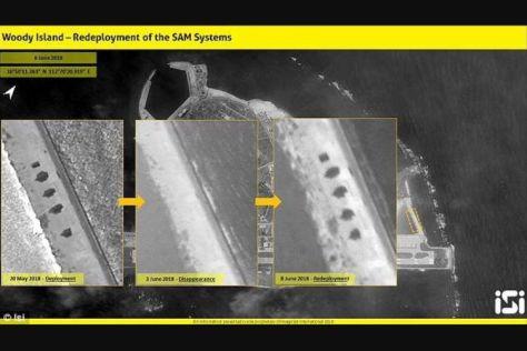 Foto citraan satelit dari atas Pulau Woody di perairan Laut China Selatan yang diambil dalam tiga waktu yang berbeda, menunjukkan adanya penempatan kembali sistem peluncur rudal mereka s
