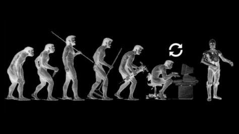 Ilustrasi evolusi mengarah kepada mesin kecerdasan buatan. (Wikimedia Commons)