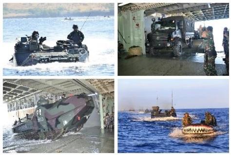 Korps Marinir TNI AL yang tergabung dalam Satuan Tugas (Satgas) Rim Of The Pacific (Rimpac) 2018, Minggu 22 Juli 2018 melaksanakan reembarkasi. (TNI AL)