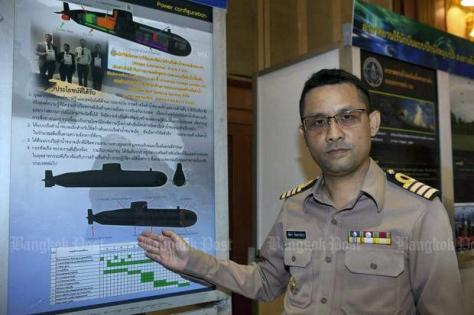 Royal Thai Navy Capt Sattaya Chandraprabha briefs media on his assignment to design a mini-submarine of between 150-300 tonnes surface displacement and a crew of 10. (Photo by Pawat Laop