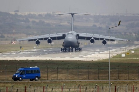 USAF C-5 Galaxy Outsize Cargo Transport Aircraft lands at Incirlik air base in Adana