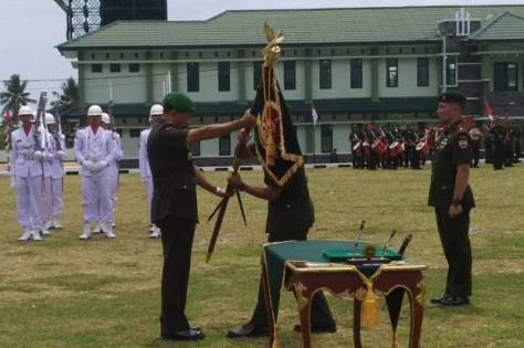 Pangdam I BB Mayjen TNI Ibnu Triwidodo saat meresmikan Batalion Komposit 1 Gardapati di Kabupaten Natuna, Kepulauan Riau. (Dok Penrem 033 - WP)