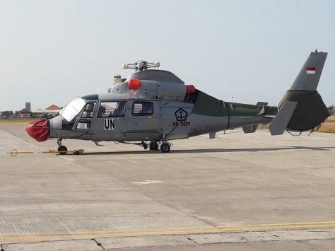 TNI Kirim Helikopter Dauphin AS 365 N3 HR-3601 Dukung Satgas Misi PBB. (TNI) E