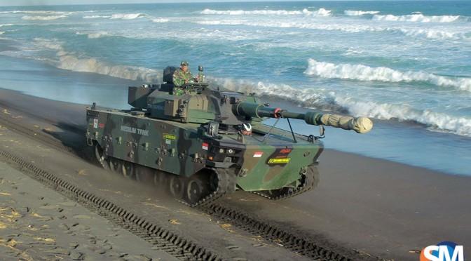 Uji Daya Gerak Medium Tank di Pantai Setrojenar