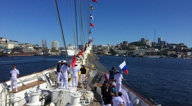 KRI Bima Suci Tiba di Pelabuhan Vladivostok