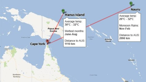 Location of Nauru and Manus Island (news.com.au)