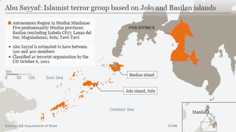 Peta lokasi beroperasinya kelompok teror Abu Sayyaf