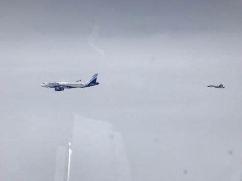 Dua Pesawat Sukhoi milik TNI Angkatan Udara berhasil mengusir pesawat asing yang terbang di sekitar timur Kota Tanjungpinang