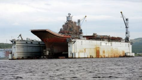 The Admiral Kuznetsov aircraft carrier is seen in the PD-50 dry dock in the village of Roslyakovo in 2011.
