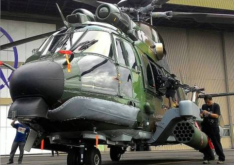 EC725 Cougar CSAR for the Indonesian Air Force equipped with rocket pods at PT DI facility. Credit to eka jakaria.