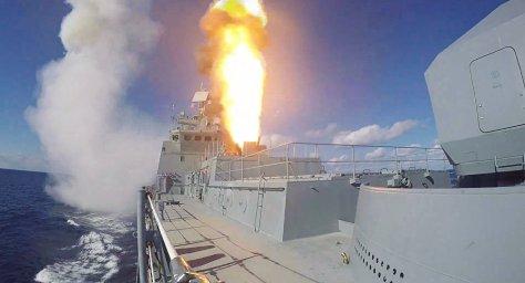 Rudal Kalibr diluncurkan dari Admiral Grigorovich (Sputnik)
