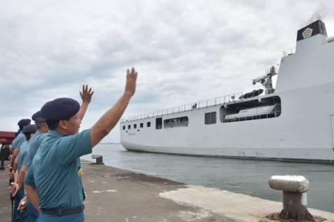 KRI Banda Aceh-593 dari Dermaga 300 Tanjung Priok, Jakarta Utara, Selasa 19 Maret 2019. Dispen AL