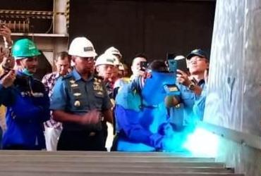 peletakan lunas (Keel Laying) KAL 28 Meter milik TNI Angkatan Laut bertempat di Galangan Kapal PT. Steadfast Marine Tbk 1