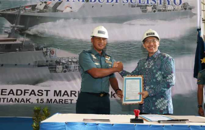 'Keel Laying' KAL 28 Meter Milik TNI AL di Galangan Kapal PT. Steadfast Marine Tbk