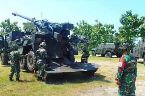 Prajurit Batalyon Arteleri Medan (Yonarmed) 12 menggelar latihan taktis tingkat seksi dengan Caesar 155 m