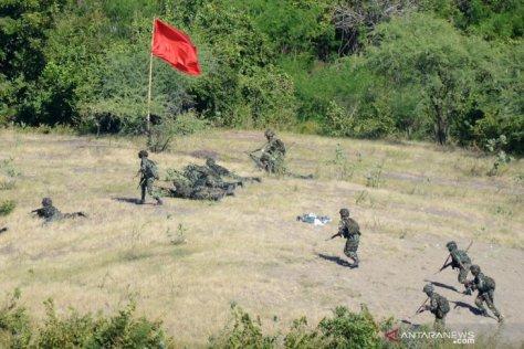 Sejumlah prajurit Korps Marinir melakukan penyerbuan ketika melaksanakan Latihan Pasukan Pendarat 2019