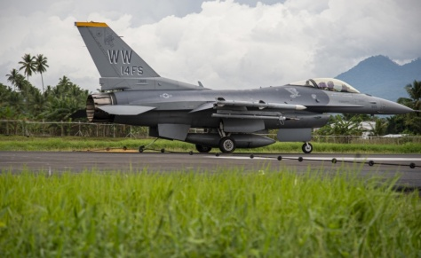 U.S. Air Force Capt. Jake Impellizzeri, a 14th Fighter Squadron F-16 Fighting Falcon pilot from Misawa Air Base, Japan, prepares to catch the mobile aircraft arresting system (MAAS) cable