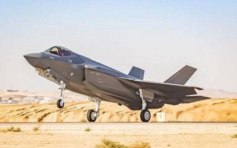 A new F-35 fighter jet lands at the Nevatim Air Base in southern Israel (The Times of Israel)