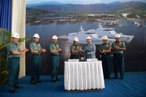 Keel Laying Kapal Patroli Cepat (PC) 40 Meter di galangan kapal PT. Caputra Mitra Sejati 1
