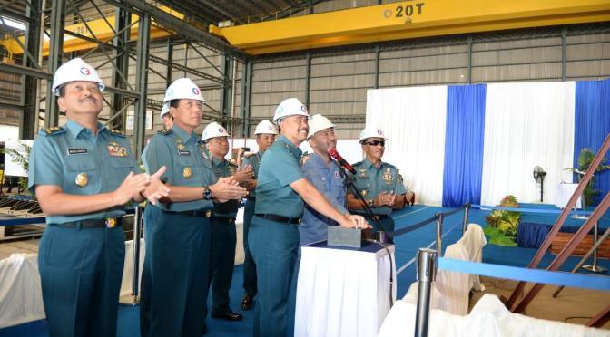 'Keel Laying' Kapal Patroli Cepat (PC) 40 Meter di galangan kapal PT. Caputra Mitra Sejati