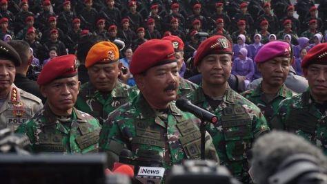 Panglima TNI Marsekal TNI Hadi Tjahjanto saat meresmikan Koopsus TNI di Mabes TNI Cilangkap, Jakarta pada Selasa, 30 Juli 2019