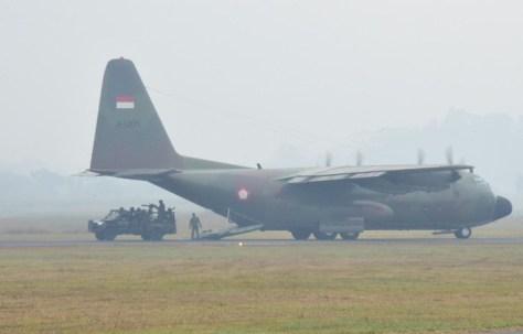 Pesawat Hercules dalam gelar latihan Angkasa Yudha 2019