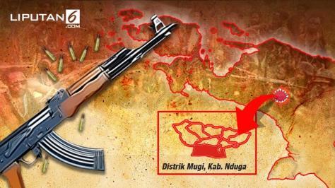 Banner Infografis Baku Tembak TNI Vs KKB Papua. (Liputan6.com) !