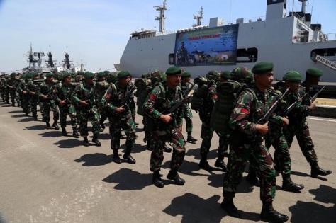 Apel kesiapan pasukan yang terlibat dalam Latihan Gabungan (Latgab) TNI 2019 di Dermaga Ujung Markas Koarmada II TNI AL 1