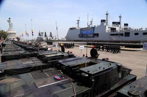 Apel kesiapan pasukan yang terlibat dalam Latihan Gabungan (Latgab) TNI 2019 di Dermaga Ujung Markas Koarmada II TNI AL 2