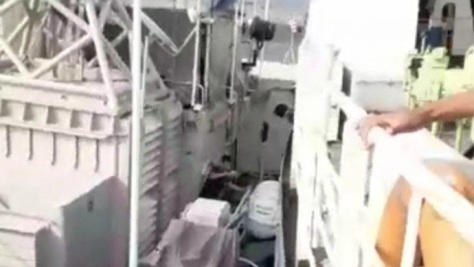 KRI Mandau - 621 ditabrak KM Mutiara Sentosa (IG)