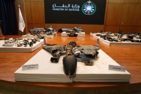 Sisa-sisa rudal yang dikatakan pemerintah Arab Saudi digunakan untuk menyerang fasilitas minyak Saudi Aramco, ditampilkan selama konferensi pers di Riyadh, Arab Saudi 18 September 2019. [REUTERS]