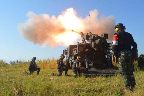 Tembakan Meriam dan Roket Menarmed 1 Divif 2 Kostrad Pada Latgab TNI 2019