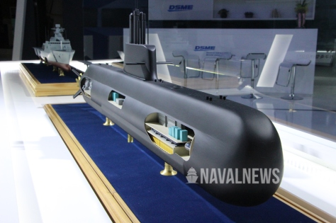 DSME2000 2,000 tons class submarine scale model at MADEX 2019 (Naval News)