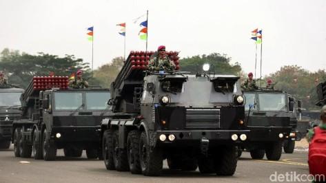 RM-70 Grad turut ditampilkan dalam geladi bersih HUT ke-74 TNI yang digelar di Lapangan Udara (Lanud) Halim Perdanakusuma, Jakarta, Kamis (03102019)