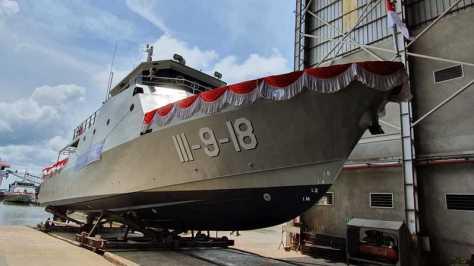 Satu dari dua kapal produksi PT Steadfast Marine Tbk (KPAL) pesanan TNI AL yang dluncurkan Jumat (18102019). (Investor)