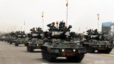 Tank Scorpion turut ditampilkan dalam geladi bersih HUT ke-74 TNI yang digelar di Lapangan Udara (Lanud) Halim Perdanakusuma, Jakarta, Kamis (03102019)