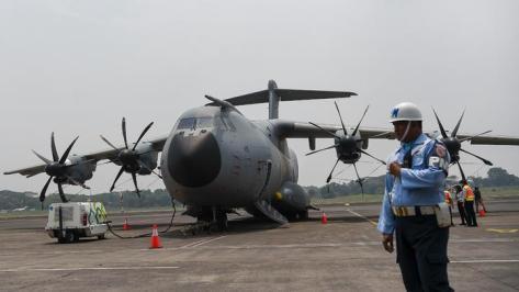 A400M di Bandara Halim Perdana Kusuma, Jakarta, Selasa 12 November 2019. (Antara)