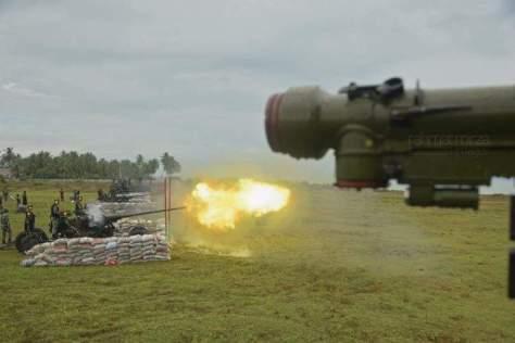 Tiga meriam 57mm AA jarak tembak efektif 6 km (Rahmad Mirza)
