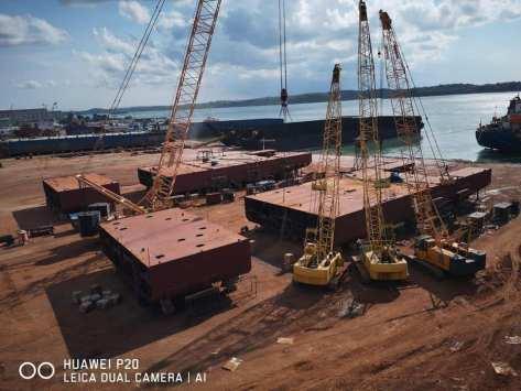 Galangan Kapal PT Bandar Abadi yang terletak di Batam melaksanakan Peletakan Lunas (Keel Laying) Pembangunan Kapal Angkut Tank (AT-8 & AT-9) 1