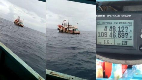 Kapal asing yang dipergoki nelayan mencuri ikan di Perairan Natuna (dedek Ardiansyah Terisno)