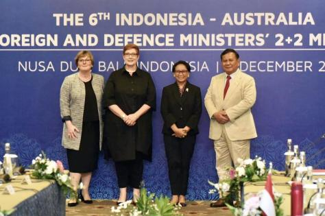 "Menhan RI dalam joint pers conference usai melakukan pertemuan ""The 6th Indonesia-Australia Foreign Affairs And Defence Ministers 2+2 Meeting"""