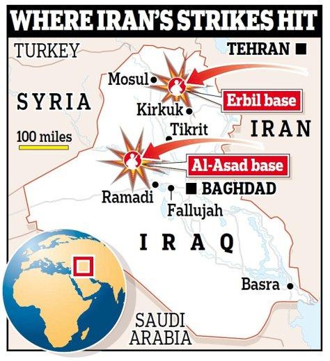 Iran Tembakkan Belasan Rudal Balistik Ke Pangkalan AS di Irak
