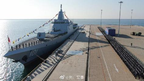 Kapal rudal jelajah Angkatan Laut Cina, Nanchang Type 055. (CTGN)