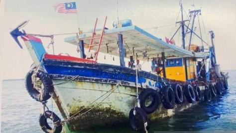 Kapal yang digunakan kedelapan WNI yang diculik di perairan Tambisan Lahad Datu Malaysia. (Antara)