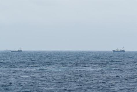 Sejumlah kapal nelayan pukat China yang melakukan penangkapan ikan di ZEE Indonesia Utara Pulau Natuna